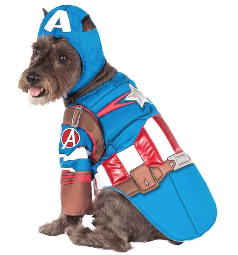 Marvel Captain America superhero dog costume, available on Baxterboo