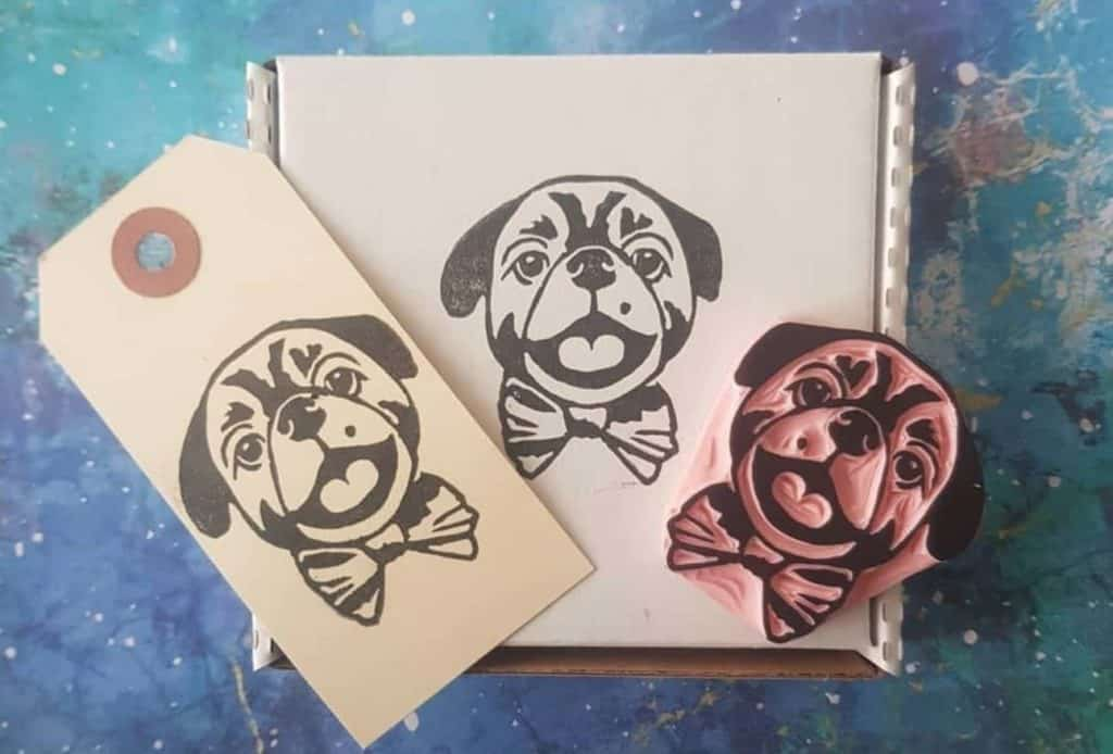 scrapbook craft custom dog stamp, available on Etsy