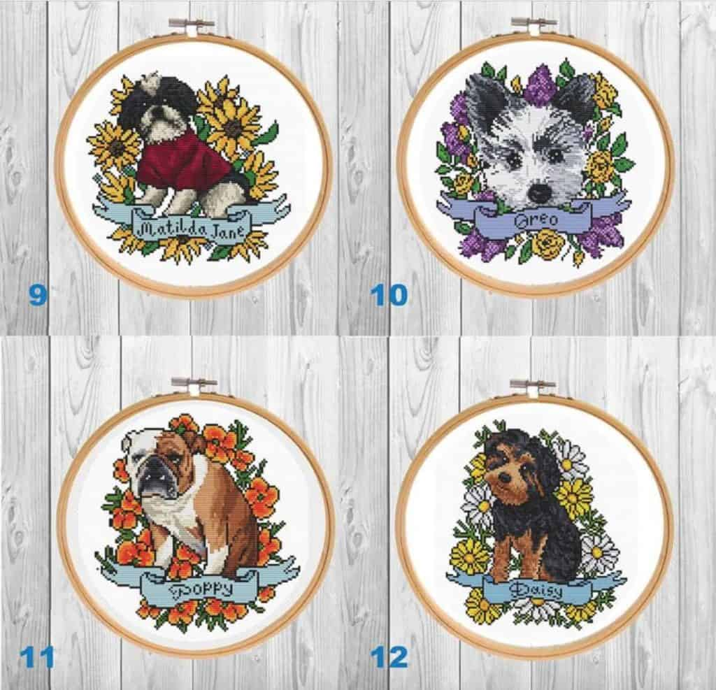 Custom DIY dog & flower cross-stitch patterns, available on Etsy