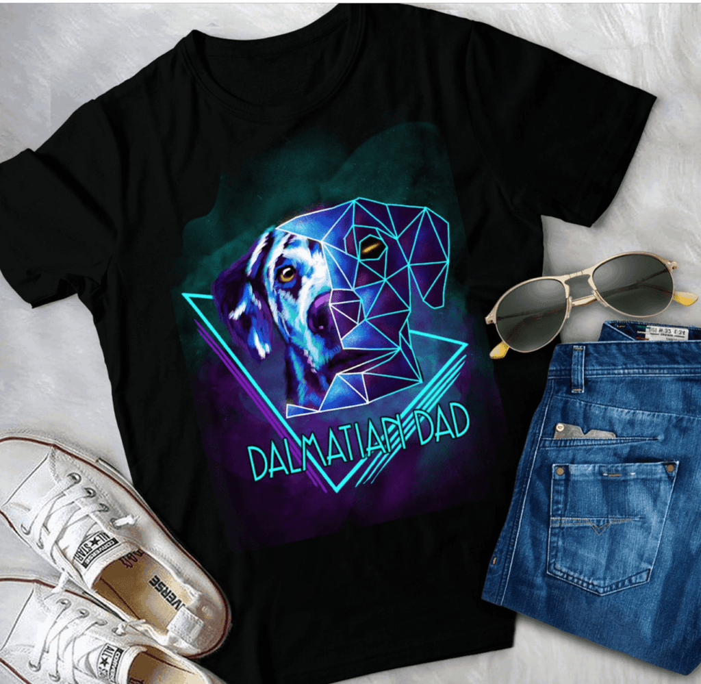 Artsy Dalmatian Dad shirt, blue & purple dog face deconstructed, Etsy