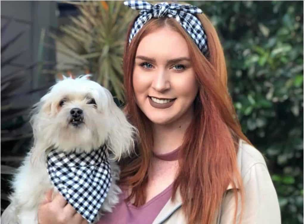 Dog & owner modelling a matching checked bandana set, available on Etsy