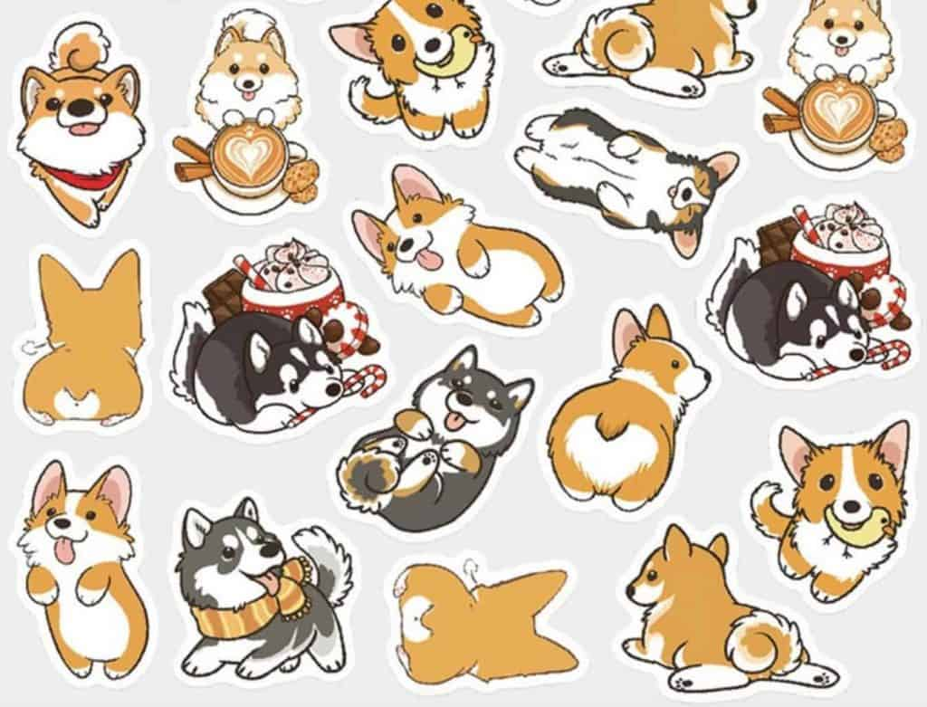 adorable corgi dogs being cute, scrapbook stickers, available on Etsy