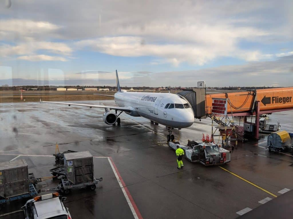 lufthansa plane in Tegel airport Berlin