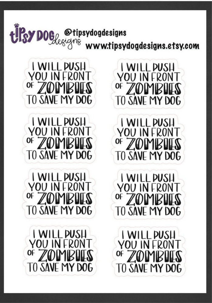 zombie dog sticker for the goth dog mom in your life.