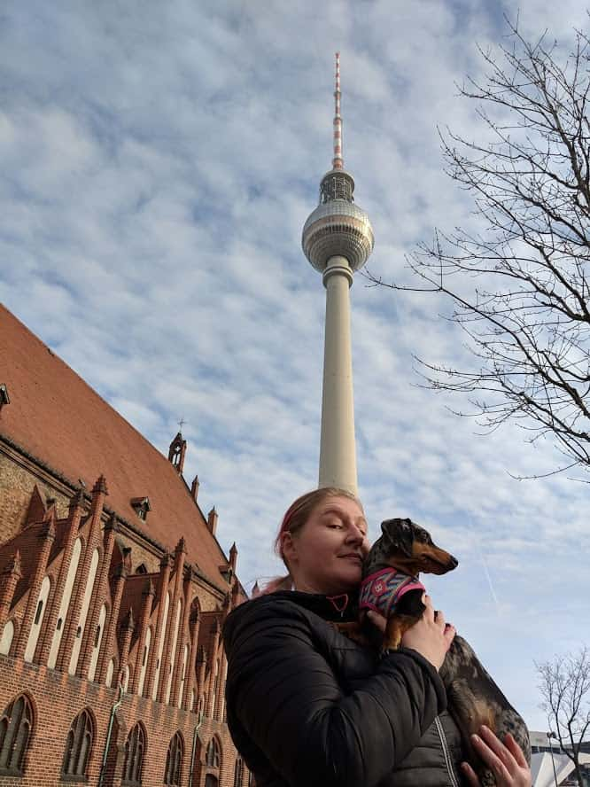 notre chien en balade à Berlin